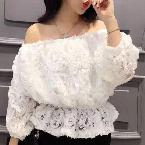 Sale Sweet 3/4 Sleeves Boat Neck Lace Ruffled Women's Blouse