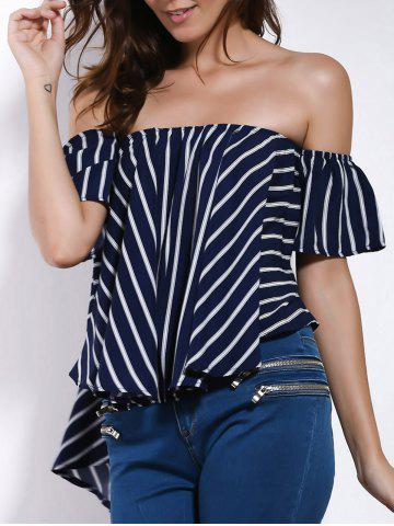 New Charming Off-The-Shoulder Short Sleeve Striped High-Low Hem Blouse For Women