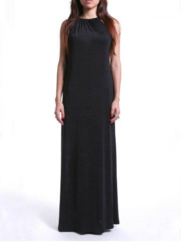Hot Trendy Strappy Loose-Fitting Black Maxi Dress For Women BLACK M