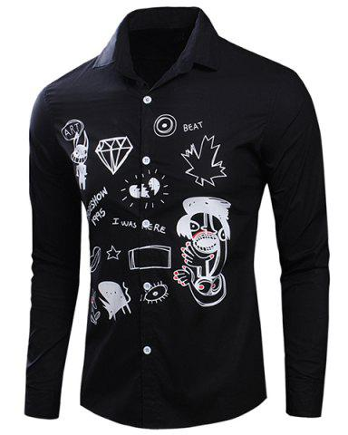 Cheap Turn-Down Collar Scrawl Printed Long Sleeve Shirt For Men BLACK M