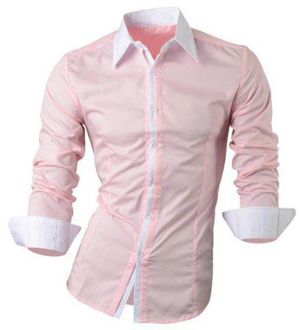 Buy Vogue Shirt Collar Color Block Button Fly Slimming Long Sleeves Shirt For Men
