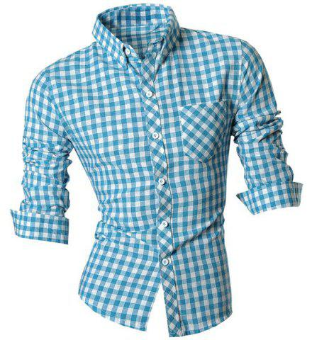 Fancy Slimming Shirt Collar One Pocket Plaid Print Long Sleeves Button-Down Shirt For Men