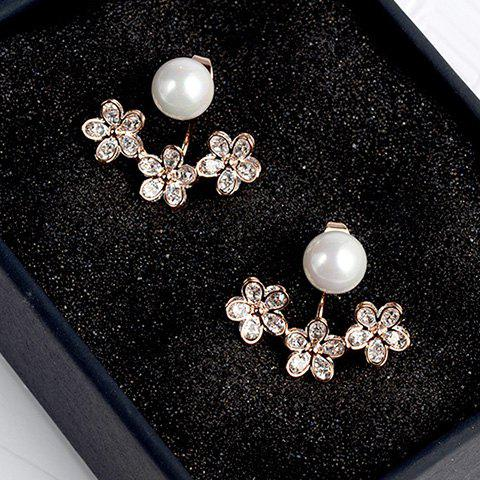 Best Pair of Alloy Faux Pearl Floral Cartilage Earrings