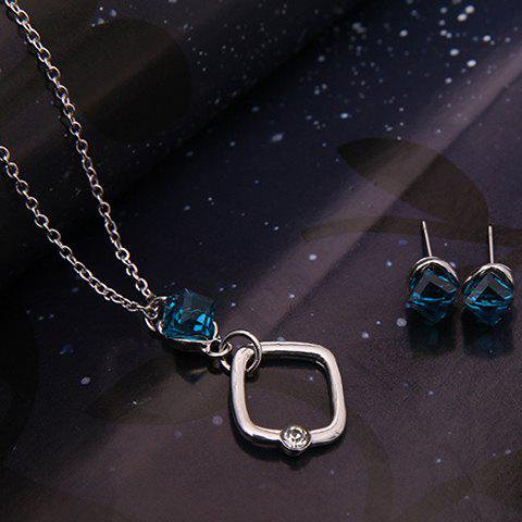 Discount Faux Crystal Cube Shape Jewelry Set - SILVER  Mobile