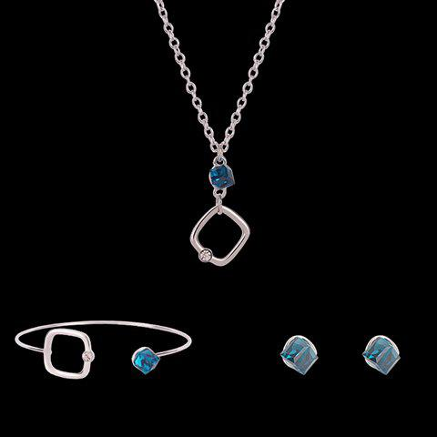 Sale Faux Crystal Cube Shape Jewelry Set - SILVER  Mobile