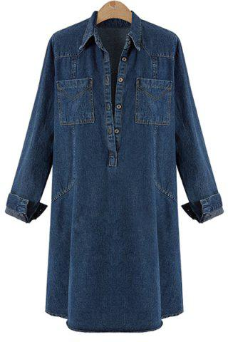 2018 Button Jean Tunic Denim Shirt Dress With Long Sleeves