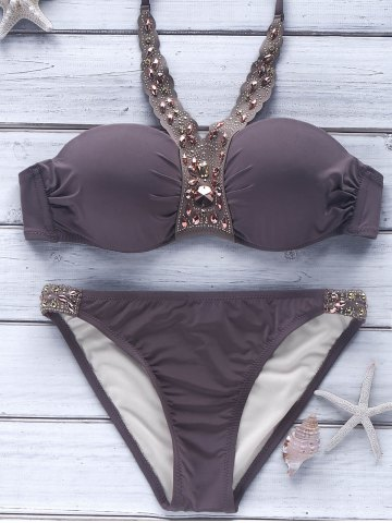 Affordable Halter Push-Up Beaded Metallic Bikini LIGHT COFFEE M