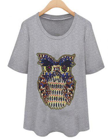 Discount Short Sleeve Owl Graphic T-Shirt