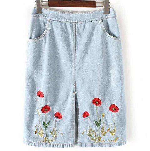 Outfit Fashionable A-Line Pocket Design Embroidered Women's Skirt