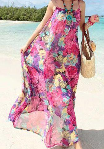 Fancy Bohemian Spaghetti Strap Floral Print Women's Long Dress