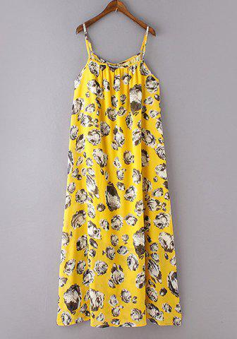 Spaghetti Strap Floral Print Long Dress