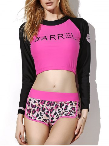 Best Stylish Jewel Neck Long Sleeve Letter and Leopard Print Rash Guard For Women