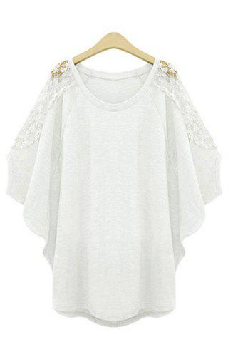 Unique Trendy Scoop Neck 1/2 Sleeve Lace Splicing T-Shirt For Women