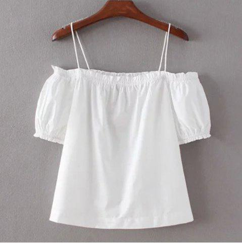 Stylish Off The Shoulder Short Sleeve Solid Color Blouse For Women - White - M