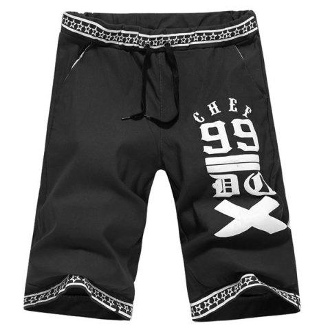 Latest Casual Straight Leg Letters Five-Pointed Star Print Lace-Up Short For Men - 2XL BLACK Mobile