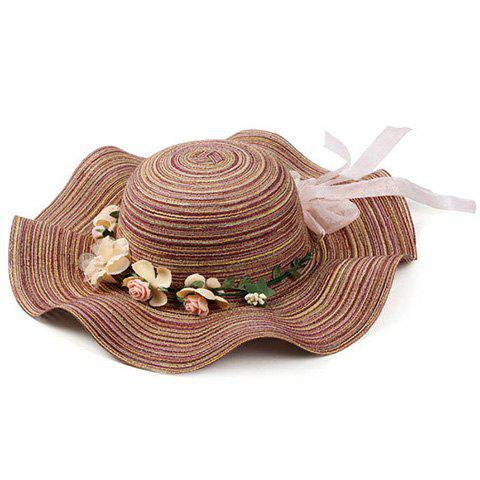 Latest Chic Stripe Pattern Bowknot Flower Decorated Beach Straw Hat For Women