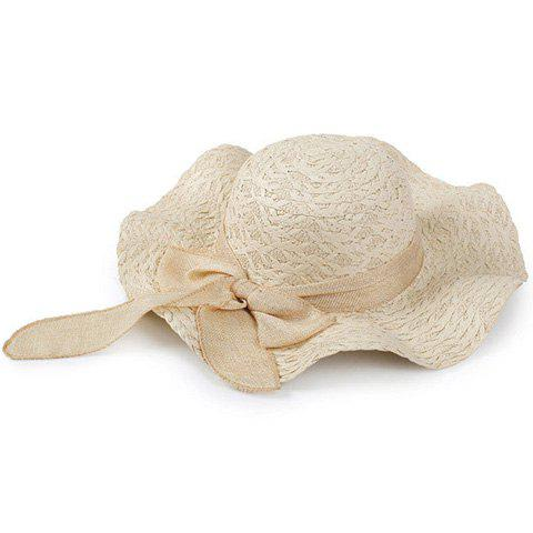 Unique Chic Bowknot Decorated Wavy Edge Beach Straw Hat For Women - BEIGE  Mobile