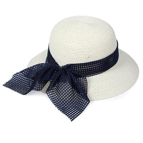 Trendy Chic Mesh Bowknot Decorated Straw Hat For Women
