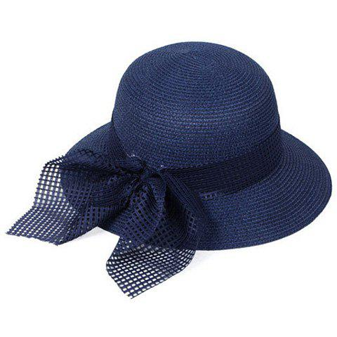 Buy Chic Mesh Bowknot Decorated Straw Hat For Women