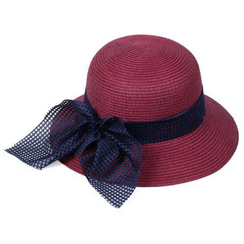 Fashion Chic Mesh Bowknot Decorated Straw Hat For Women - WINE RED  Mobile