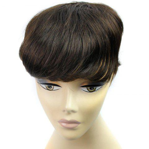 Discount 100 Percent Brazilian Human Hair Shaggy Natural Straight Stylish Clip-In Toupee
