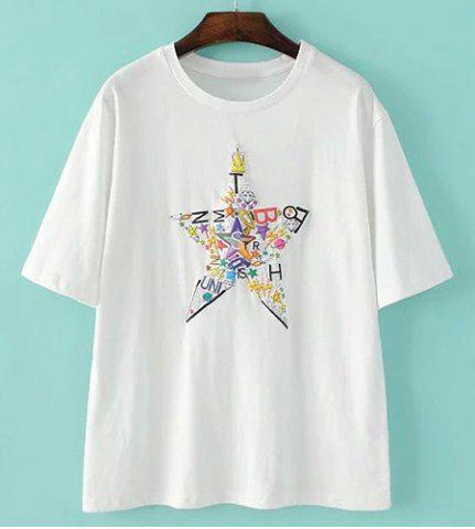 Sale Simple Round Neck Short Sleeve Star Print T-Shirt For Women