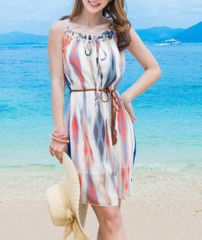 Latest Sweet Spaghetti Strap Ruffled Chiffon Dress For Women