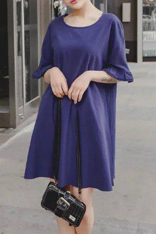 Discount Brief Round Neck Ruffled Sleeve Pure Color Dress For Women