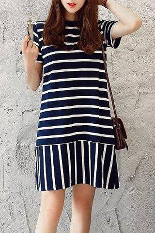 Cheap Casual Round Neck Short Sleeve Women's Striped Mini Dress