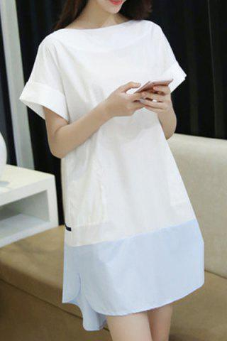 Latest Leisure Style Boat Neck Short Sleeve Color Spliced Loose-Fitting Pocket Dress For Women