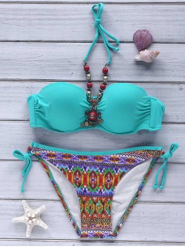 Ethnic Style Halter Beaded Push-Up Printed Women's Bikini Set - MINT GREEN M
