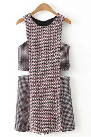 Discount Chic Round Neck Sleeveless Cut Out Geometric Print Romper For Women