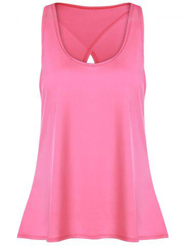 Slit Long Workout Gym Vest Rose L