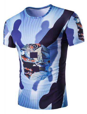Affordable Slimming Round Neck Shadow Printed T-Shirt For Men