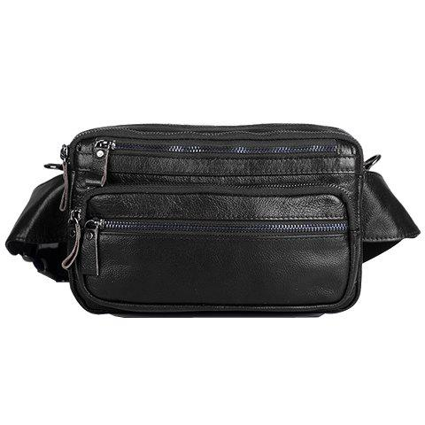 Affordable Leisure Zippers and PU Leather Design Messenger Bag For Men BLACK