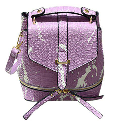 Online Fashionable Color Block and Embossing Design Backpack For Women - PURPLE  Mobile