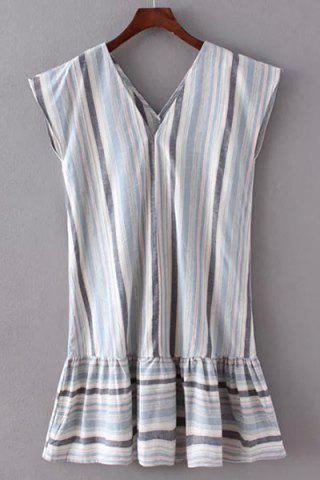 Trendy Simple Style V-Neck Striped Pleated Dress For Women