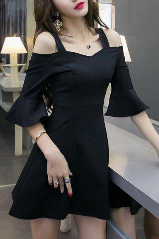 Cheap Chic Sweetheart Neck Hollow Out Bell Sleeves Dress For Women