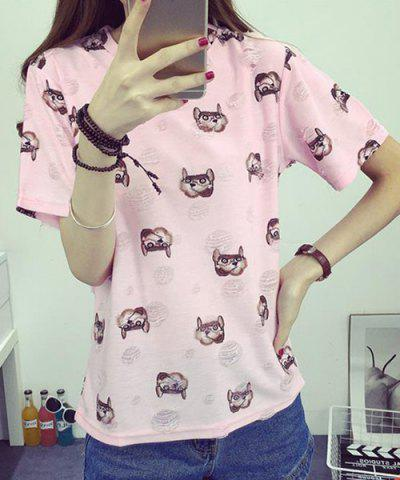 Store Trendy Round Neck Print Short Sleeves Ripped T-Shirt For Women