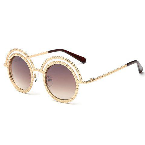 Buy Chic Beaded Round Frame Hollow Out Golden Sunglasses For Women