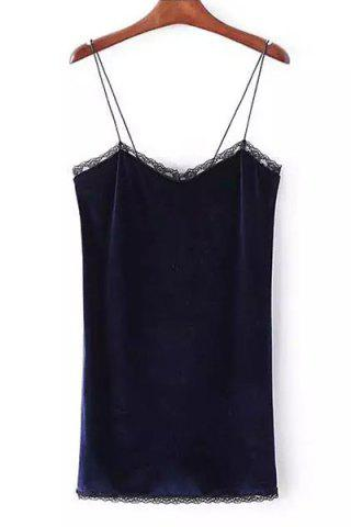 Affordable Stylish Strappy Backless Lace Embellished Dress For Women - S PURPLISH BLUE Mobile