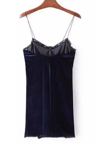 Hot Stylish Strappy Backless Lace Embellished Dress For Women - S PURPLISH BLUE Mobile