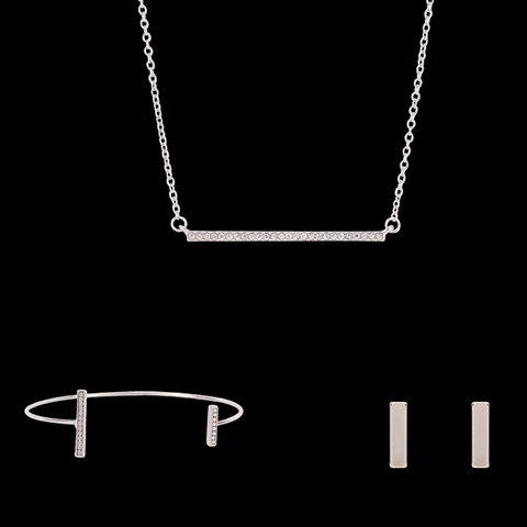 Sale Alloy Rhinestoned Rectangle Shape Jewelry Set (Necklace Bracelet and Earrings) SILVER