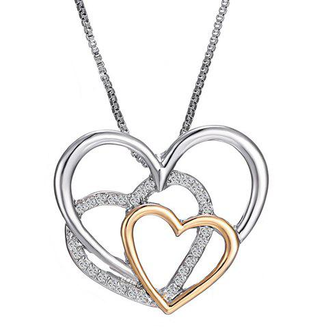 Outfit Retro Rhinestoned Multilayer Heart Shape Pendant Necklace