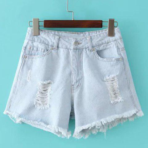 Discount Mid Rise Ripped Denim Shorts - M LIGHT BLUE Mobile