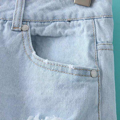 Store Mid Rise Ripped Denim Shorts - M LIGHT BLUE Mobile