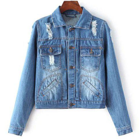 Trendy Ripped Denim Jacket with Pockets