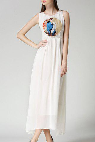 Buy Ladylike Sleeveless Round Neck Chiffon Women's Maxi Dress WHITE S