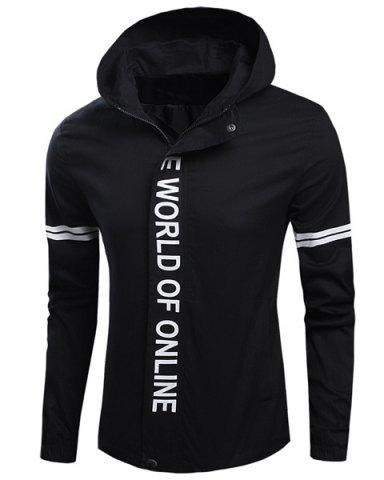 Outfit Casual Hooded Plain Front Letters Stripes Print Long Sleeves Jacket For Men