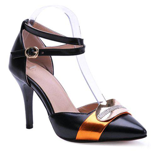 Discount Trendy Colour Matching and Metal Design Pumps For Women